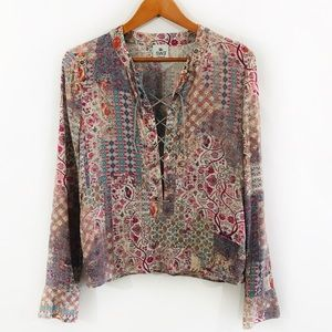 SW3 BESPOKE Boho Chic Floral Lace Up Paisley Top